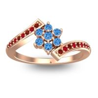 Simple Floral Pave Utpala Swiss Blue Topaz Ring with Garnet and Ruby in 14K Rose Gold