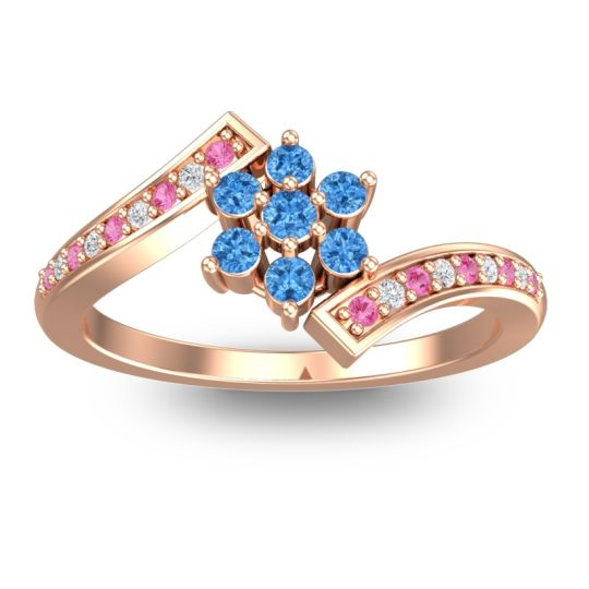 Simple Floral Pave Utpala Swiss Blue Topaz Ring with Pink Tourmaline and Diamond in 14K Rose Gold