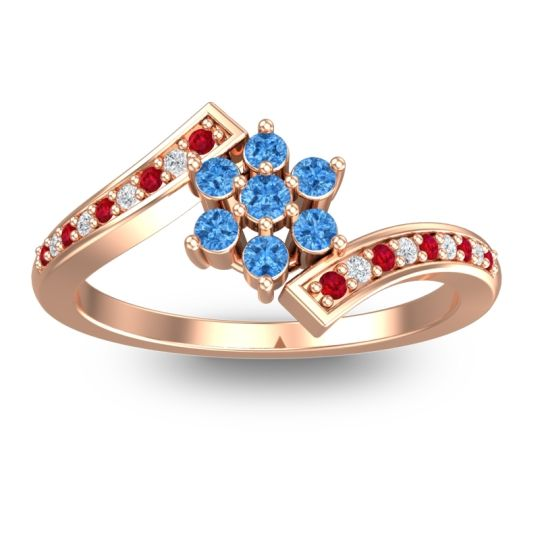 Simple Floral Pave Utpala Swiss Blue Topaz Ring with Ruby and Diamond in 18K Rose Gold
