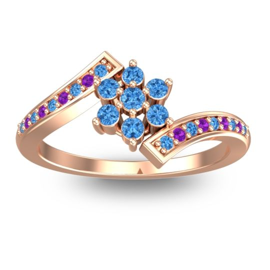 Simple Floral Pave Utpala Swiss Blue Topaz Ring with Amethyst in 18K Rose Gold