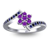 Simple Floral Pave Utpala Amethyst Ring with Blue Sapphire and Black Onyx in Palladium