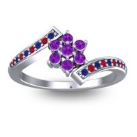 Simple Floral Pave Utpala Amethyst Ring with Blue Sapphire and Ruby in 18k White Gold