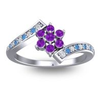 Simple Floral Pave Utpala Amethyst Ring with Diamond and Swiss Blue Topaz in 18k White Gold