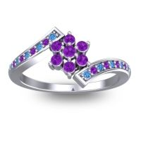 Simple Floral Pave Utpala Amethyst Ring with Swiss Blue Topaz in 14k White Gold