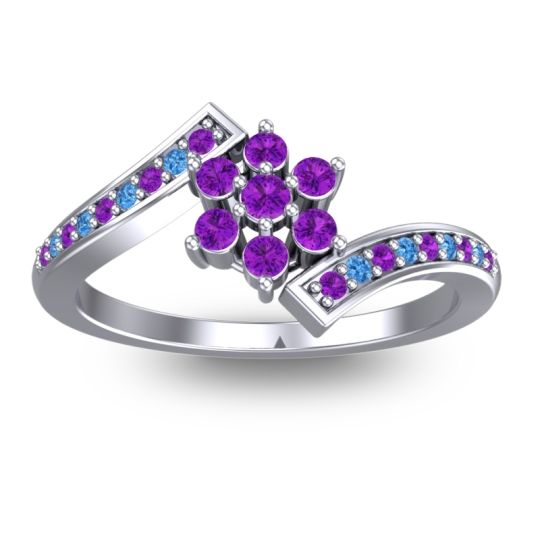 Simple Floral Pave Utpala Amethyst Ring with Swiss Blue Topaz in Palladium