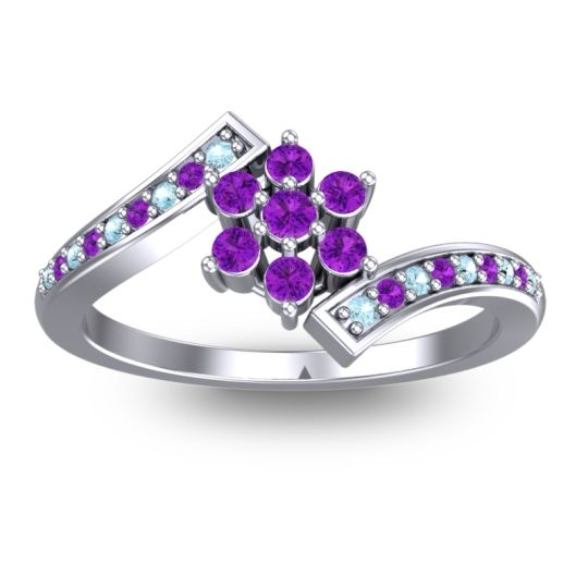 Simple Floral Pave Utpala Amethyst Ring with Aquamarine in Platinum