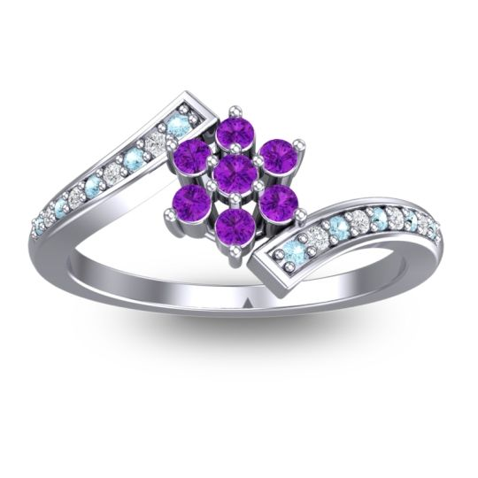 Simple Floral Pave Utpala Amethyst Ring with Aquamarine and Diamond in 14k White Gold