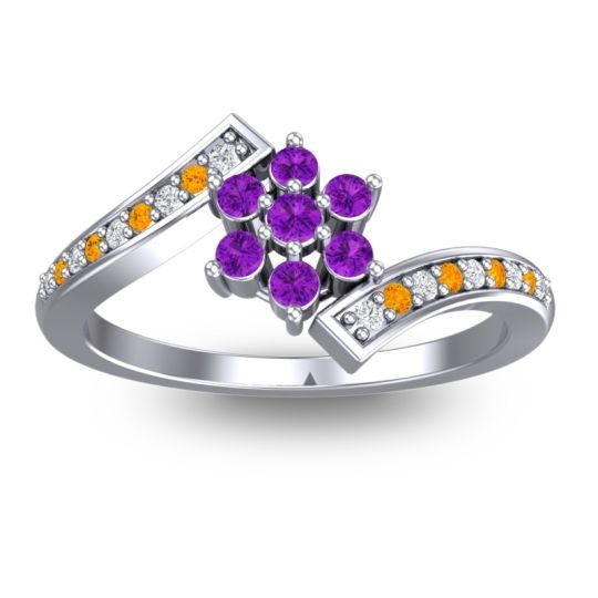 Simple Floral Pave Utpala Amethyst Ring with Diamond and Citrine in 14k White Gold