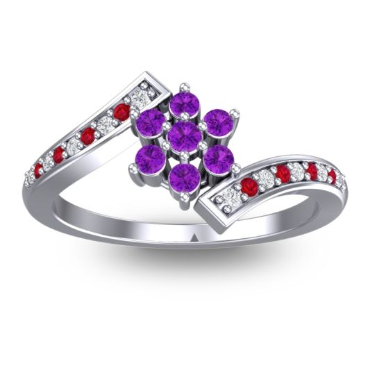 Simple Floral Pave Utpala Amethyst Ring with Diamond and Ruby in 14k White Gold