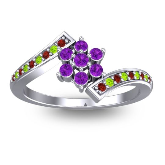 Simple Floral Pave Utpala Amethyst Ring with Garnet and Peridot in 18k White Gold