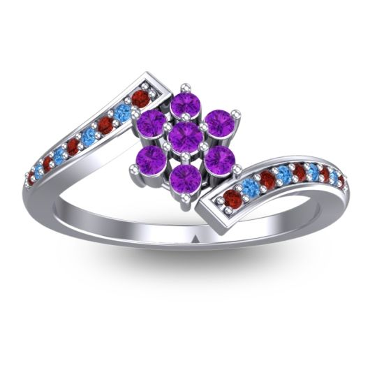 Simple Floral Pave Utpala Amethyst Ring with Garnet and Swiss Blue Topaz in Palladium