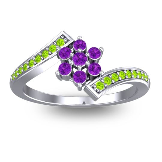 Simple Floral Pave Utpala Amethyst Ring with Peridot in 14k White Gold