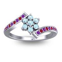 Simple Floral Pave Utpala Aquamarine Ring with Amethyst and Ruby in Palladium