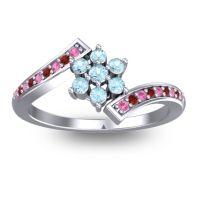 Simple Floral Pave Utpala Aquamarine Ring with Pink Tourmaline and Garnet in Palladium