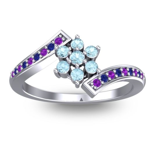 Simple Floral Pave Utpala Aquamarine Ring with Amethyst and Blue Sapphire in 14k White Gold