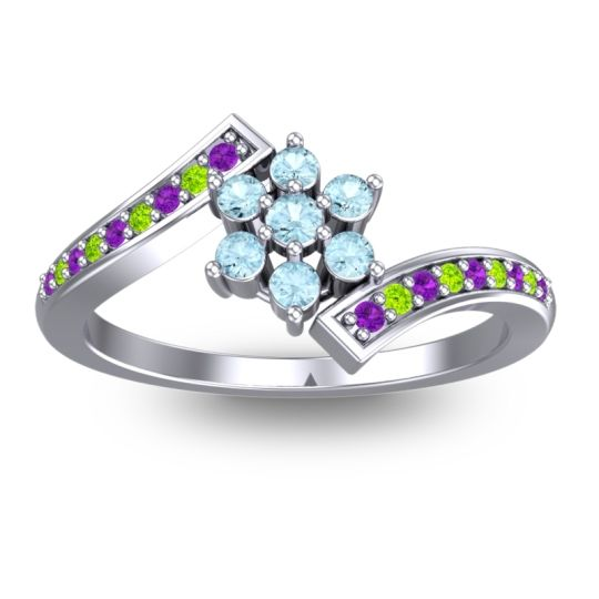 Simple Floral Pave Utpala Aquamarine Ring with Amethyst and Peridot in 14k White Gold