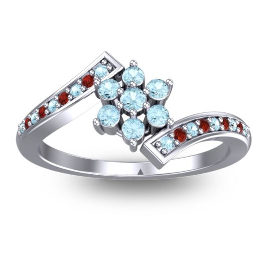 Simple Floral Pave Utpala Aquamarine Ring with Garnet in 14k White Gold