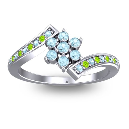 Simple Floral Pave Utpala Aquamarine Ring with Peridot in 14k White Gold