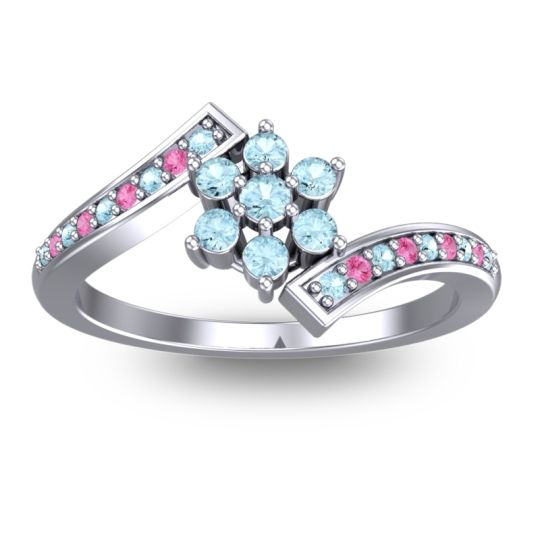 Simple Floral Pave Utpala Aquamarine Ring with Pink Tourmaline in 18k White Gold