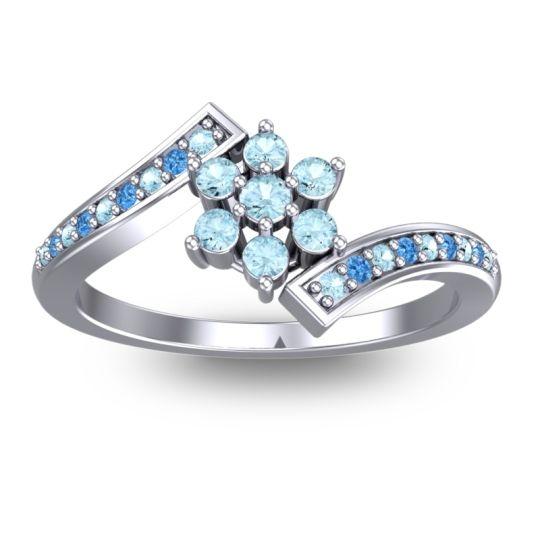 Simple Floral Pave Utpala Aquamarine Ring with Swiss Blue Topaz in Palladium
