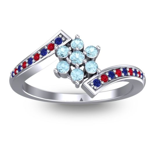 Simple Floral Pave Utpala Aquamarine Ring with Blue Sapphire and Ruby in 18k White Gold