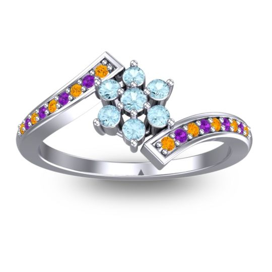 Simple Floral Pave Utpala Aquamarine Ring with Citrine and Amethyst in 18k White Gold
