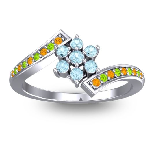 Simple Floral Pave Utpala Aquamarine Ring with Citrine and Peridot in Platinum
