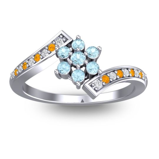 Simple Floral Pave Utpala Aquamarine Ring with Diamond and Citrine in Platinum