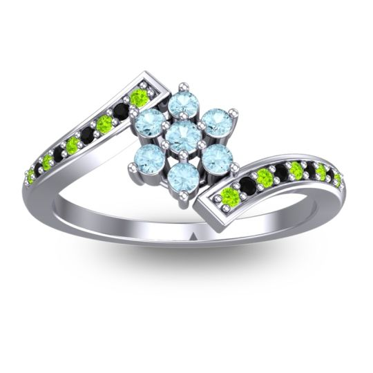 Simple Floral Pave Utpala Aquamarine Ring with Peridot and Black Onyx in Palladium