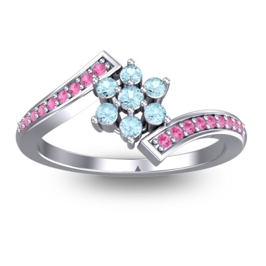 Simple Floral Pave Utpala Aquamarine Ring with Pink Tourmaline in 14k White Gold