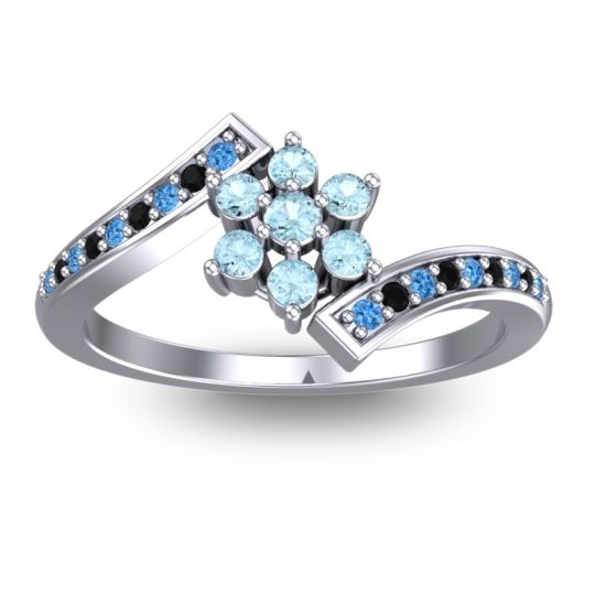 Simple Floral Pave Utpala Aquamarine Ring with Swiss Blue Topaz and Black Onyx in Palladium