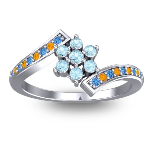 Simple Floral Pave Utpala Aquamarine Ring with Swiss Blue Topaz and Citrine in Platinum