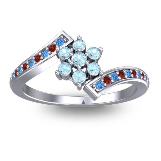 Simple Floral Pave Utpala Aquamarine Ring with Swiss Blue Topaz and Garnet in Palladium