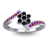 Simple Floral Pave Utpala Black Onyx Ring with Amethyst and Ruby in Platinum