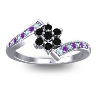 Simple Floral Pave Utpala Black Onyx Ring with Aquamarine and Amethyst in Palladium