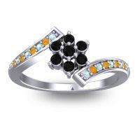 Simple Floral Pave Utpala Black Onyx Ring with Aquamarine and Citrine in Palladium