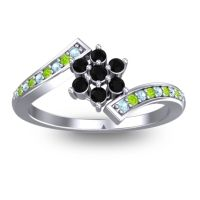 Simple Floral Pave Utpala Black Onyx Ring with Aquamarine and Peridot in Platinum