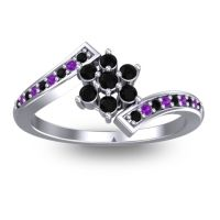 Simple Floral Pave Utpala Black Onyx Ring with Amethyst in Platinum