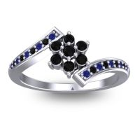 Simple Floral Pave Utpala Black Onyx Ring with Blue Sapphire in 18k White Gold
