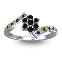 Simple Floral Pave Utpala Black Onyx Ring with Blue Sapphire and Peridot in 18k White Gold