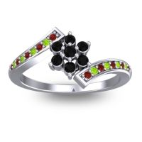 Simple Floral Pave Utpala Black Onyx Ring with Garnet and Peridot in 14k White Gold
