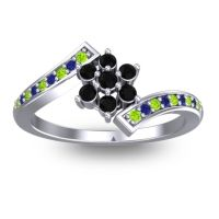 Simple Floral Pave Utpala Black Onyx Ring with Peridot and Blue Sapphire in 18k White Gold