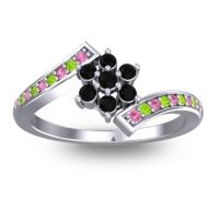 Simple Floral Pave Utpala Black Onyx Ring with Pink Tourmaline and Peridot in Palladium