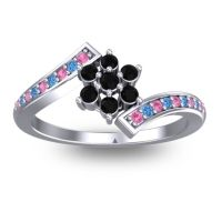 Simple Floral Pave Utpala Black Onyx Ring with Pink Tourmaline and Swiss Blue Topaz in 14k White Gold