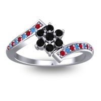 Simple Floral Pave Utpala Black Onyx Ring with Ruby and Swiss Blue Topaz in 18k White Gold