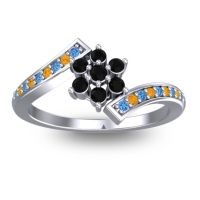 Simple Floral Pave Utpala Black Onyx Ring with Swiss Blue Topaz and Citrine in 18k White Gold