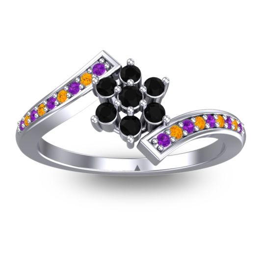 Simple Floral Pave Utpala Black Onyx Ring with Amethyst and Citrine in 18k White Gold