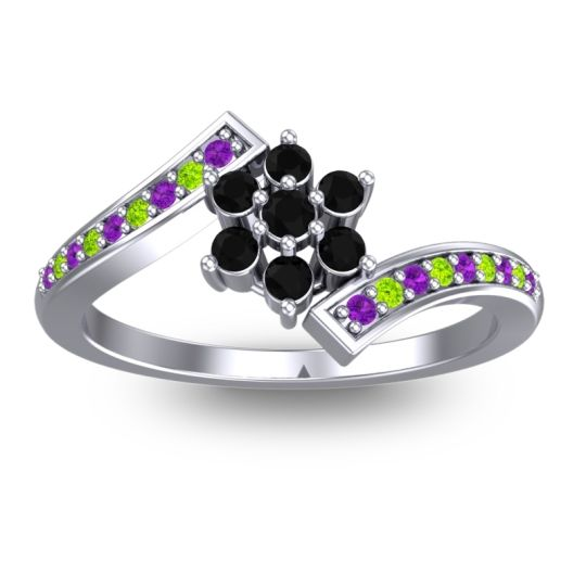 Simple Floral Pave Utpala Black Onyx Ring with Amethyst and Peridot in 18k White Gold
