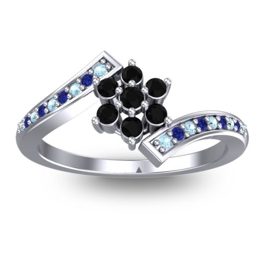 Simple Floral Pave Utpala Black Onyx Ring with Aquamarine and Blue Sapphire in 14k White Gold