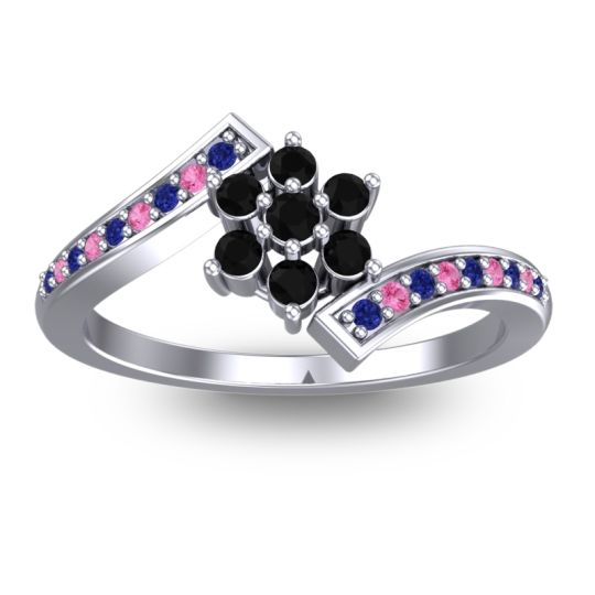 Simple Floral Pave Utpala Black Onyx Ring with Blue Sapphire and Pink Tourmaline in 18k White Gold